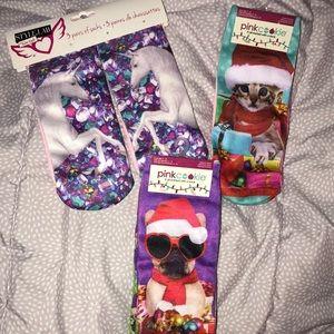 Girls Sock Lot 9 Pair Shoe Size 4-10 Unicorn Dog